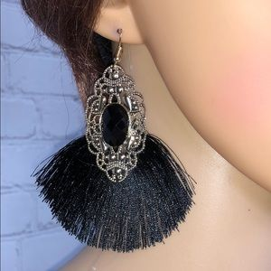 Black Fringe Earrings with Gold Tone and jewel